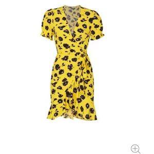 Diane Von Furstenberg yellow wrap dress